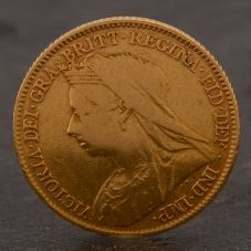 Second Hand 22ct Yellow Gold 1897 Queen Victoria Half Sovereign Coin ELM106947(08/11) 4130177
