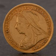 Second Hand 22ct Yellow Gold 1901 Queen Victoria Half Sovereign Coin ELM106947(08/11) 4130181
