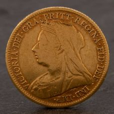 Second Hand 22ct Yellow Gold 1899 Queen Victoria Half Sovereign Coin ELM106947(08/11) 4130182