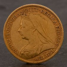 Second Hand 22ct Yellow Gold 1901 Queen Victoria Half Sovereign Coin ELM106947(08/11) 4130185