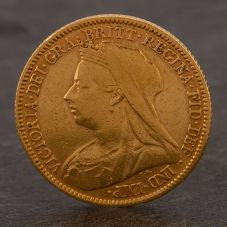 Second Hand 22ct Yellow Gold 1901 Queen Victoria Half Sovereign Coin ELM106947(08/11) 4130188