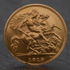 Second Hand King George 1913 Half Sovereign Coin