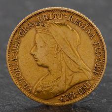 Second Hand Queen Victoria 1894 Half Sovereign Coin
