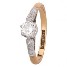Second Hand 18ct Yellow Gold Platinum Set 0.30ct Diamond Solitaire Ring