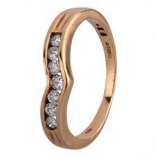Second Hand 9ct Yellow Gold 0.20ct Diamond Wishbone Half Eternity Ring