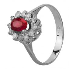 Second Hand White Gold Synthetic Ruby and Diamond Cluster Ring