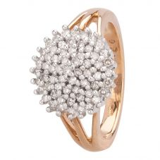 Second Hand 9ct Yellow Gold 0.50ct Diamond Five Tier Cluster Ring HGM14/02/12(10/18)