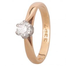 Second Hand 9ct Yellow Gold 0.33ct Diamond Solitaire Ring