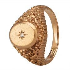 Second Hand 9ct Yellow Gold Diamond Raised Signet Ring