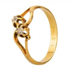 Second Hand Yellow Gold 0.10ct Diamond Crossover Ring