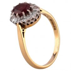 Second Hand 18ct Yellow Gold Garnet and Diamond Cluster Ring