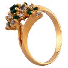 Second Hand 18ct Yellow Gold Emerald and Diamond Cluster Twist Ring D516465(448)