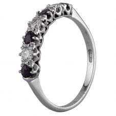 Second Hand 18ct White Gold Sapphire and 0.30ct Diamond Half Eternity Ring