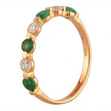 Second Hand Yellow Gold Emerald and 0.33ct Diamond Half Eternity Ring T605502(447)