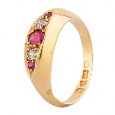 Second Hand 18ct Yellow Gold Ruby and Diamond Five Stone Ring C605042(452)