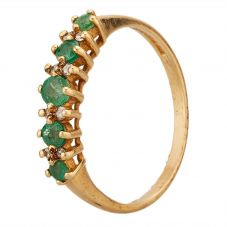 Second Hand 9ct Yellow Gold Emerald and Diamond Half Eternity Ring W605109(454)
