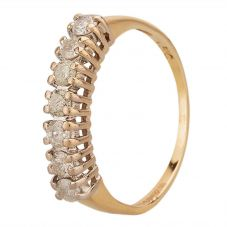 Second Hand 9ct Yellow Gold 0.50ct Diamond Seven Stone Half Eternity Ring