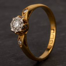 Second Hand 22ct Yellow Gold 0.10ct Diamond Solitaire Ring F502243(460)