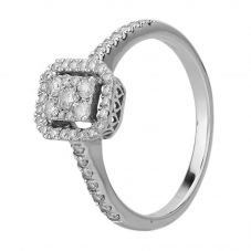 Second Hand 9ct White Gold Diamond Oblong Halo Cluster Ring