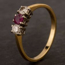Second Hand 18ct Yellow Gold Ruby & Diamond Three Stone Ring