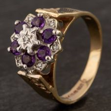 Second Hand 9ct Yellow Gold Amethyst and Diamond Flower Cluster Ring