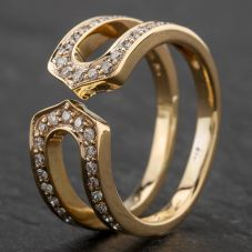 Second Hand 9ct Yellow Gold Diamond Set Open Cut Dress Ring