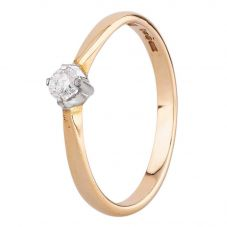 Second Hand 9ct Yellow Gold 0.10ct Diamond Solitaire Ring