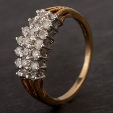 Second Hand 9ct Yellow Gold Diamond Three Row Cluster Ring