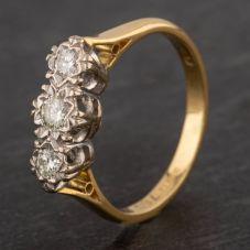 Second Hand 18ct Yellow Gold Illusion Set 0.20ct Diamond Three Stone Ring