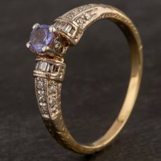 Second Hand 9ct Yellow Gold Tanzanite and Diamond Ring