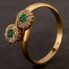 Second Hand Yellow Gold Old Cut Emerald & Diamond Double Cluster Crossover Ring