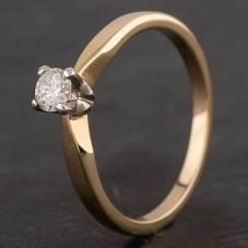 Second Hand 9ct Yellow Gold 0.20ct Diamond 4 Claw Solitaire Ring