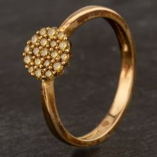 Second Hand 9ct Yellow Gold Treated Yellow Diamond Round Cluster Ring