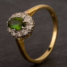 Second Hand 18ct Yellow Gold Oval Green Tourmaline & Diamond Cluster Ring