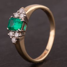 Second Hand 9ct Yellow Gold Synthetic Emerald and Diamond Seven Stone Ring