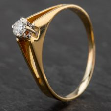 Second Hand 18ct Gold Diamond Single Stone 4 Claw Setting Ring