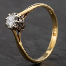 Second Hand 14ct Gold Diamond Single Stone 8 Claw Setting Ring