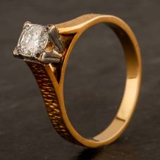 Second Hand 18ct Yellow Gold 0.35ct Diamond Solitaire Ring