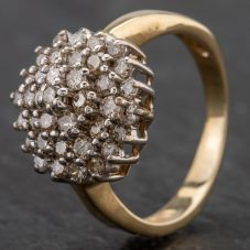 Second Hand 9ct Yellow Gold Large Tier Diamond Cluster Ring