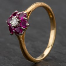 Second Hand 18ct Yellow Gold Ruby & Diamond Cluster Ring