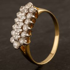 Second Hand 18ct Yellow Gold 0.55ct Diamond Three Row Ring