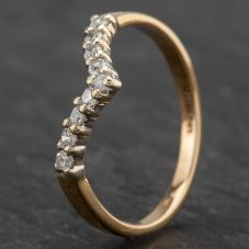 Second Hand 9ct Yellow Gold Diamond Set 1/2 Wishbone Ring