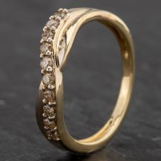 Second Hand 9ct Yellow Gold Fancy Wave Diamond Wishbone Ring