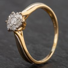 Second Hand 18ct Gold Diamond 7 Stone Flower Cluster Ring