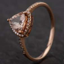 Second Hand 9ct Rose Gold Morganite & Diamond Cluster Ring