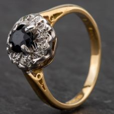 Second Hand 18ct Yellow Gold Diamond & Sapphire Cluster Ring