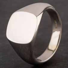 Second Hand 9ct White Gold Plain Cushion Shape Signet Ring