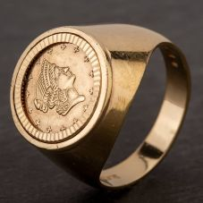 Second Hand 9ct Yellow Gold 1853 American Coin Ring
