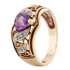 Second Hand 9ct Yellow Gold Heart Cut Amethyst and Diamond Dress Ring LOT638(06/17)