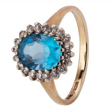Second Hand 9ct Yellow Gold Topaz and Diamond Ring